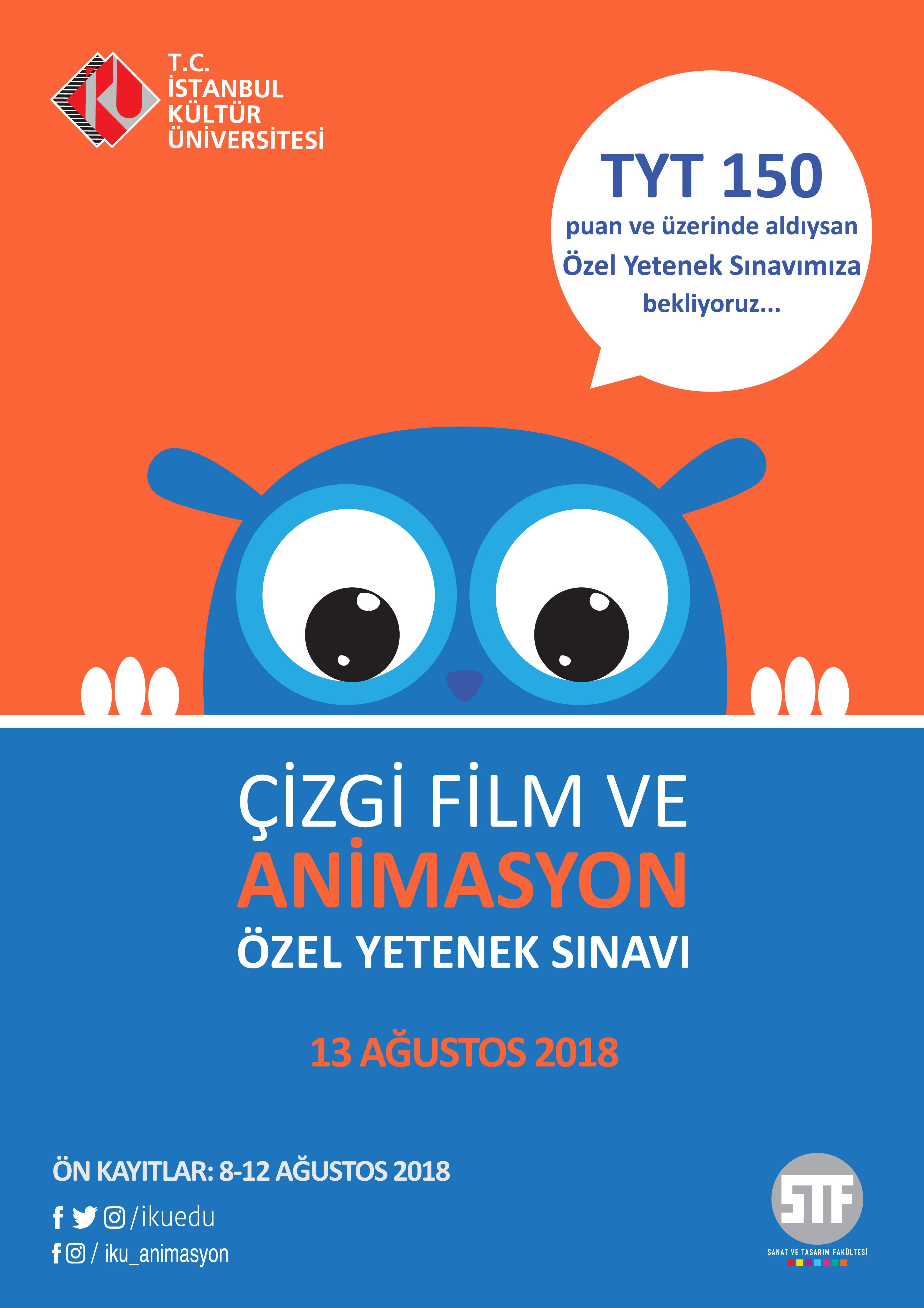 İstanbul Kültür Üniversitesi Çizgi Film ve Animasyon Özel Yetenek Sınavı